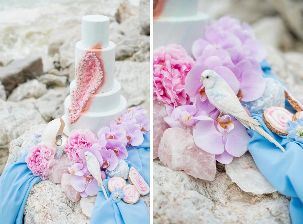 geode-wedding-cake-inspiration-serenity-blue-rose-quartz