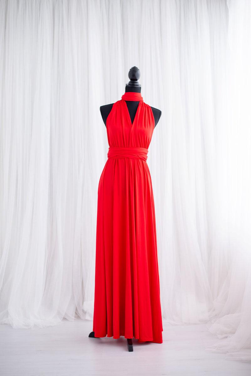Rode overslagjurk uit de collectie van Blik en Bloos Fotografie - Abby